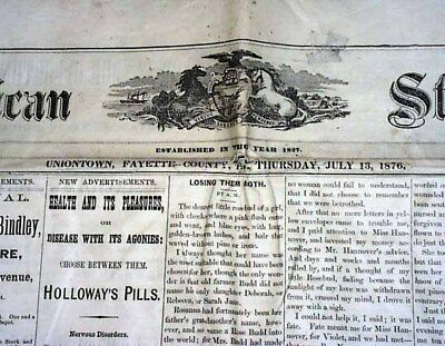 CUSTER'S MASSACRE Last Stand Battle of Little Bighorn INDIANS 1876 Old Newspaper