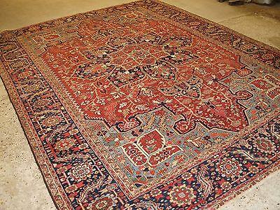 Antique Persian Heriz Carpet With Soft Pastel Colours, Great Condition, C 1900.