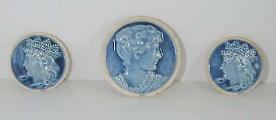 Antique Beaver Falls Stove Tiles Portrait Women 3 Piece Set Majolica Art Pottery