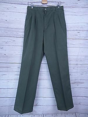 Vintage Green Pleated Tapered Preppy Woolrich Cotton Chino Trousers W32 DV05