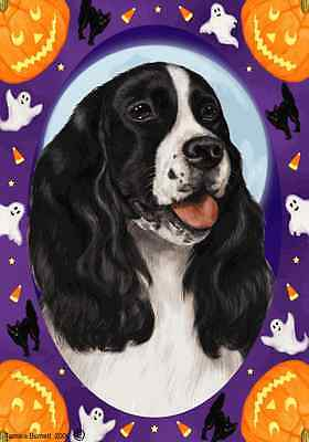 Garden Indoor/Outdoor Halloween Flag - Black & White English Springer 120801
