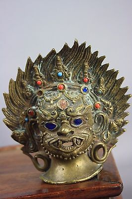 Possibly 17th/18th C. Sino-Tibetan Marked Bronze Mask Of Buddha