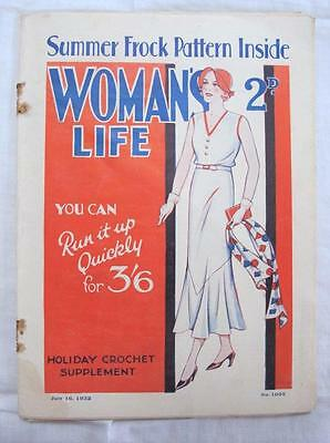 """VINTAGE 1930's """"WOMAN'S  LIFE"""" SEWING FASHION ILLUSTRATED MAGAZINE - c1932"""