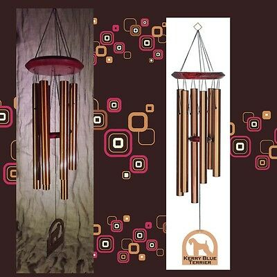 """Kerry Blue Terrier Dog Theme Wind Chime 6 Note 27"""" Bronze [GS]"""