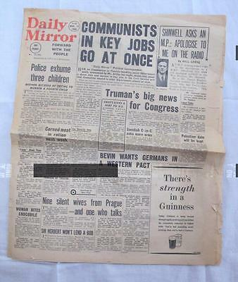 VINTAGE 1940's POST WAR DAILY MIRROR NEWSPAPER - 16th MARCH 1948
