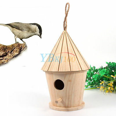 Wooden Bird House Birdhouse Hanging Nest Nesting Box Home Garden Decoration New