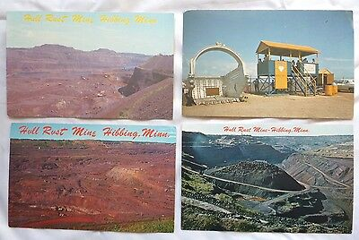 Lot of 4 vintage Hull Rust Mine postcards - Hibbing Minnesota mining history