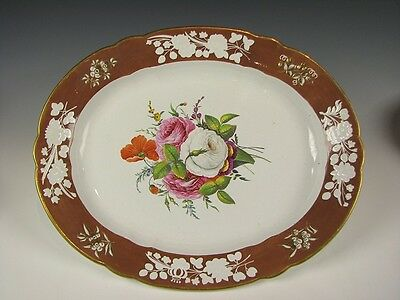 """Early 19th C. Antique English Porcelain Platter Hand Painted w/Flowers 17x14"""""""