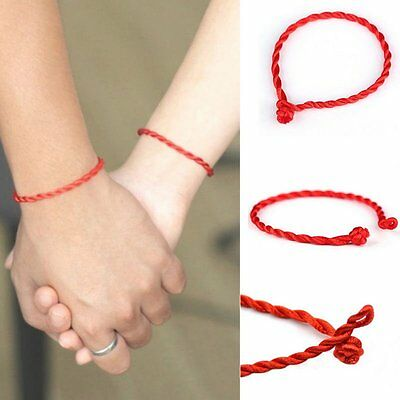 2 Pcs Hand Braided Red Simple Women Men Lucky String Rope Cord Bracelet Gifts