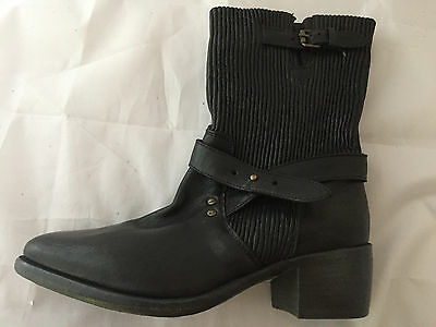 NEW UGG Collection Black Leather Harness Mid-Calf Boots, Italy Women Size 8 $425