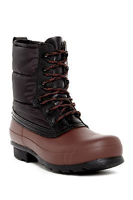 NEW Hunter Original Short Quilted Lace-Up Boots, Brown/Black, Size Women 9 $215