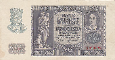 20 Zlotych Vf Banknote From German Occupied Poland 1940!pick-95