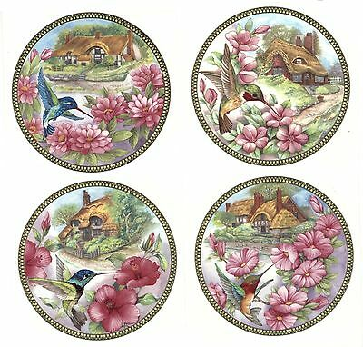 4 Cottage Hummingbird Flower Select-A-Size Waterslide Ceramic Decals Xx