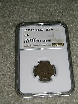 1858  Flying Eagle Cent, Large Letters   Ngc G 6   Grades & Certified.
