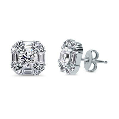 BERRICLE Sterling Silver Round Cut CZ Art Deco Halo Stud Earrings
