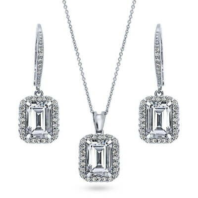 BERRICLE Sterling Silver Emerald CZ Halo Bridesmaids Necklace and Earrings Set