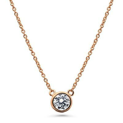 BERRICLE Rose Gold Flashed 925 Silver CZ Solitaire Pendant Necklace 0.46 Carat