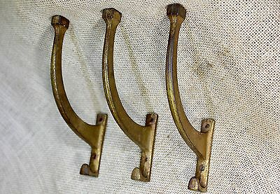 3 Coat Hooks house clothes tree  bath robe old vintage tarnished brass round