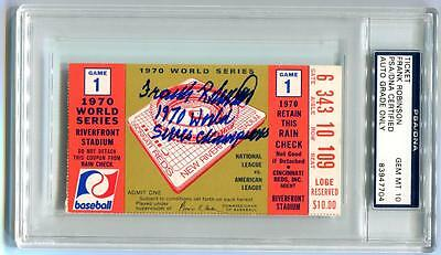 """Frank Robinson """"1970 Ws Champions"""" Signed 1970 Ws Ticket Psa Graded 10 Autograph"""