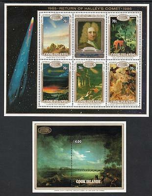 COOK ISLANDS MNH 1986 SG1063-64 Halleys Comet Minisheet set