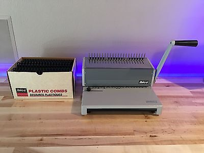Ibico Ibimatic Plastic Comb Binding System With Large Box of Plastic Combs.
