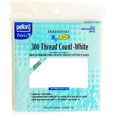 """300 Thread Count Cotton Fabric For Embroidery-White 20""""X24"""""""