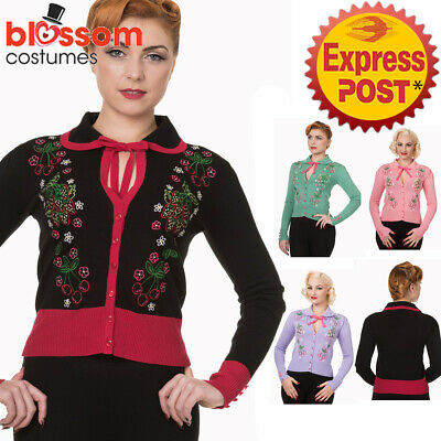 RKN36 Banned 50s Vintage Cherry & Floral Pin Up Cardigan Top Retro Rockabilly