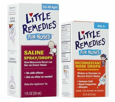 Saline Spray / Drops + Decongestant Drops - For Stuffy Noses By Little Remedies