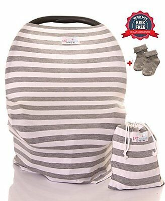 Stretchy Baby Car Seat Cover fully protected from bright lights germs - 5 in 1