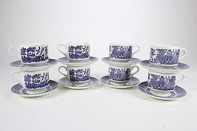 8 Unused Blue Willow Pattern Cups & Saucer Sets Churchill England 16 Total Pcs