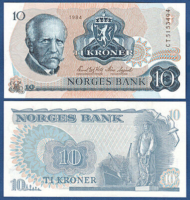 NORWEGEN / NORWAY 10 Kroner 1984  UNC  P.36 c