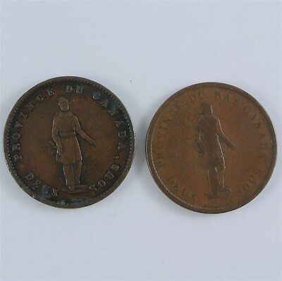 1837 City Bank & 1852 Rare Quebec Bank Tokens Duex Sous One Penny Lower Canada