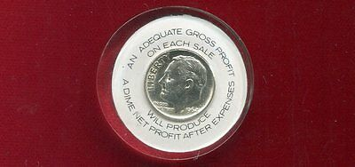 """Encased In Lucite 1964 Dime Advertising """"when Gross Profit Is 40%"""""""