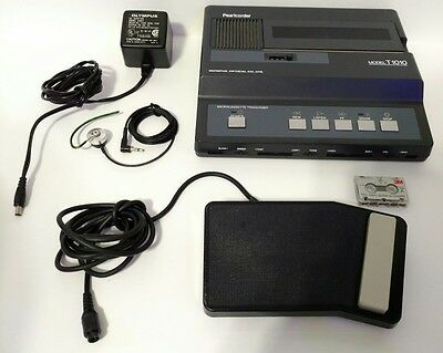 Olympus T1010 MICROCASSETTE TRANSCRIBER Dictator w/ Foot Pedal AC Adapter TESTED