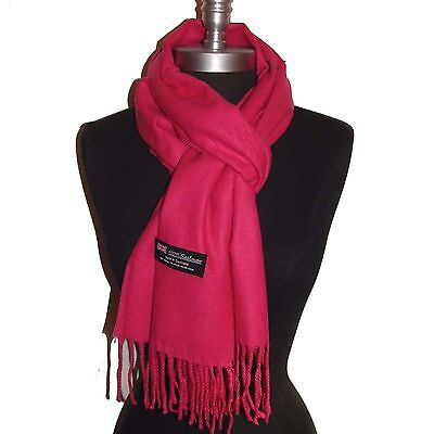 Brand New 100% Cashmere Scarf Hot Pink Solid Scotland Wool Soft Unisex #S-10