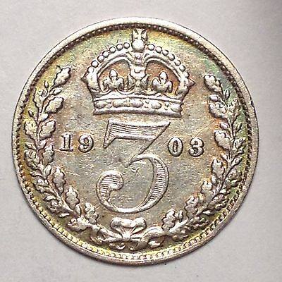 1903 THREEPENCE EDAWRD VII GREAT BRITAIN - NICE w/ SOME COLOR!! TAKE A LOOK!!