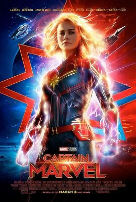 Marvel CAPTAIN MARVEL 2019 Original DS 2 Sided 27x40 US Movie Poster Brie Larson