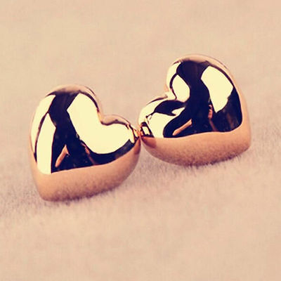 Women Fashion Heart Silver/Gold Plated Charm Ear Stud Earrings+Necklace Jewerly