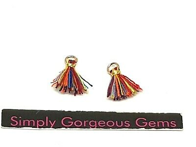 2 Pretty Tiny Thread Tassels - 12 mm.  Carnival with gold binding and jump ring