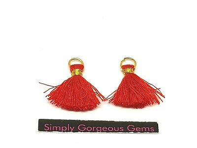 2 Pretty Jump Ring Thread Tassels - 18 mm.  Red with gold binding.