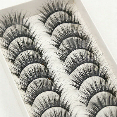10 Pairs Box Long Natural Makeup Black Handmade Thick Fake False Eyelashes New
