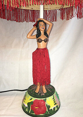 "Hawaiian Hand Painted Hula Girl MOTION Lamp Vintage 26"" Rattan Shade Hawaii NIB"