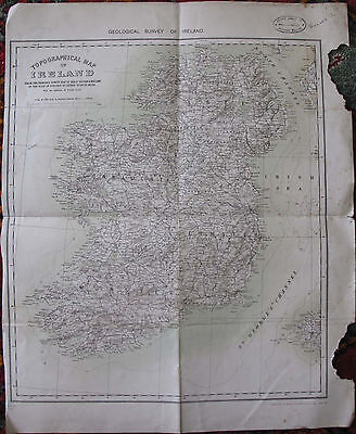 Geology Folded Topographical Map of Ireland Dublin Limerick Cork Belfast 1928