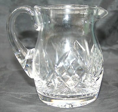 Crystal Cut Glass Cream or Milk Jug Cross Hatch Pattern to the sides
