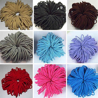 50 x Quality Girls Hair Elastics Bobbles Bands Ties School Ponios Thick Thin