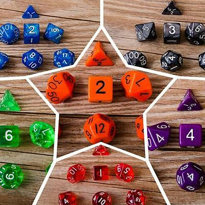 7pcs/set TRPG Game Dungeons & Dragons Pearl Grain D4-D20 Multi-Sided Dices NEW