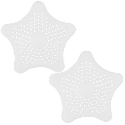 TRIXES Pair of White Star Shaped Silicone Sink Bath Shower Drain Plug Hole Filte