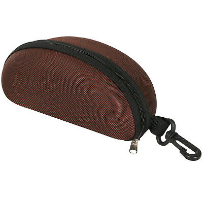 TRIXES Protective Moulded Sunglasses Case Dark Brown Zipped
