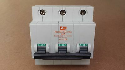Federal Electric 6A Type C, Hca 3 Pole, Stab-Lok Mcb Circuit Breaker 6Amp C6