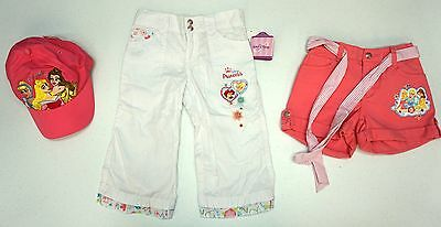 NWT LOT OF 3 ITEMS DISNEY PRINCESS Hat Pants Shorts Girls Size 6 Pink White NEW